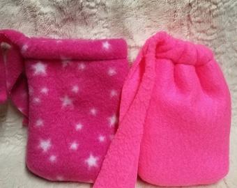 Small Soft Fleece Bag, pink, pink stars, chuillum, small pipe, pendant, glass bag, drawstring