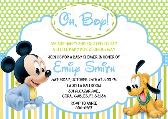 Disney baby mickey mouse inspired baby shower or birthday disney baby mickey mouse inspired baby shower or birthday printable invitation filmwisefo Image collections