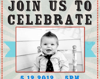 First Birthday Party Invitation --  Let's Celebrate