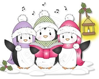 Digital (Digi) Cute Penguin Stamp 'Carol Singing Penguins' . Makes Cute Christmas Cards.