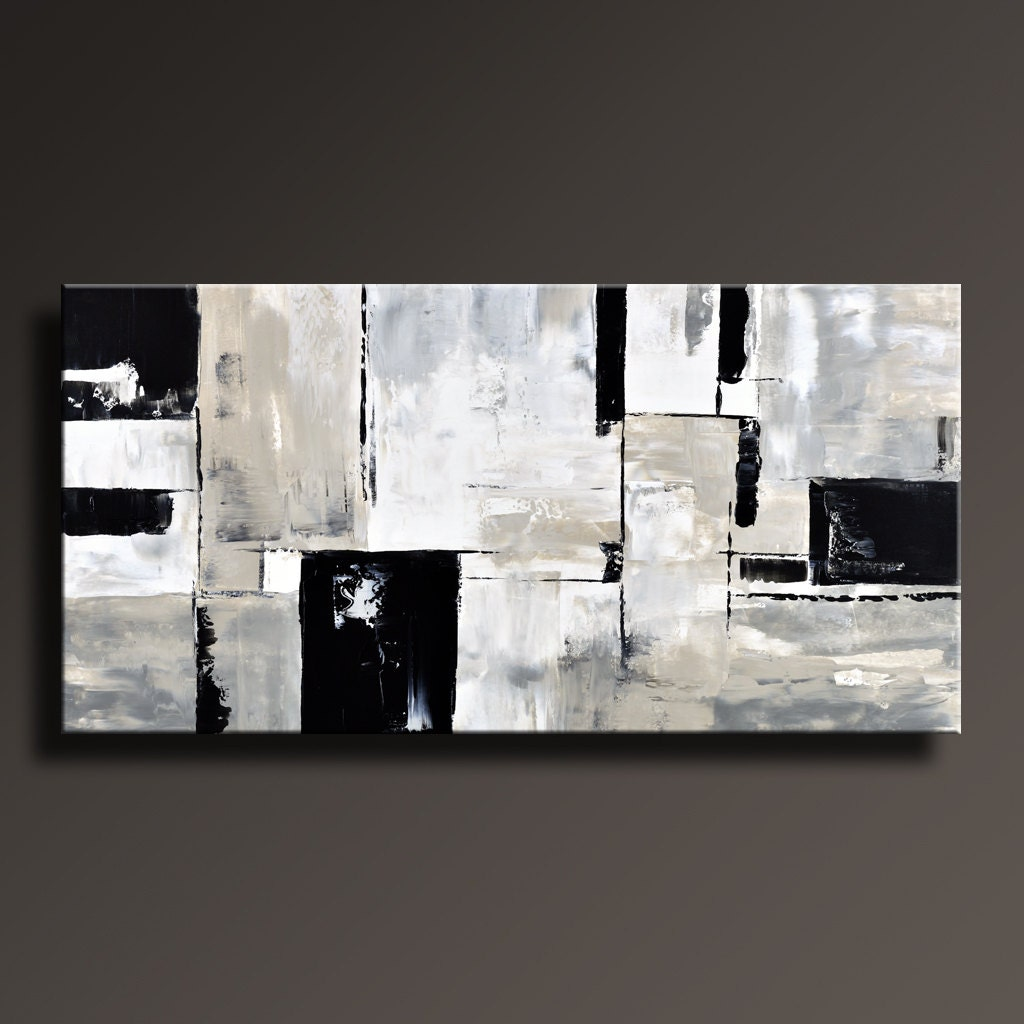 Abstract painting black white gray painting original large for Abstract painting on black canvas