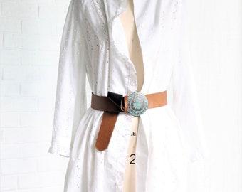 Vintage White Eyelet Chore Jacket ~ Fits Sizes Small through XLarge ~ Cotton House Coat Top