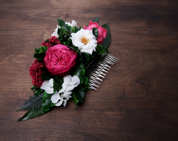 Fuchsia pink white floral hair comb Preserved real flowers eternal rose tropical greenery ferns boho wedding Bridal hairpiece half crown