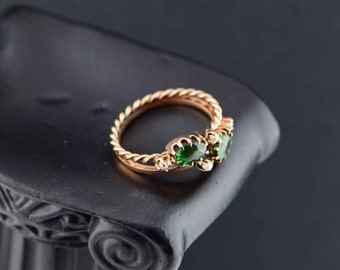 Circa 1925 14K Rose Gold Green Tourmaline and pearl ring, Size 5.5