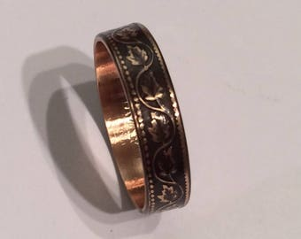 Oak Leaf Canadian One Cent Coin Ring