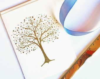 Gold and Blue Tree Holiday Card