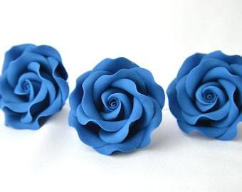 "royal blue 2"", set of 3, sugar paste, handmade, cake topper, wedding cake, edible, sugar flower"