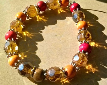 crystal and wood beaded bracelet