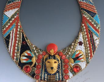 Sekhmet's Necklace - Bead Embroidered Collar Necklace Size Large, with Egyptian Goddess Sekhmet