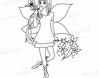 Flower Digital Stamp, Digi Stamp, Fairy, Coloring Page, Girl, Fantasy, Adult Coloring Page NilitArt IMG 010