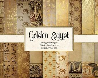 Golden Egypt - Egyptian Digital Paper, Hieroglyphics Scrapbook Paper, Papyrus Vintage Antique Egypt Patterns, Digital Gold Foil Leaf Overlay