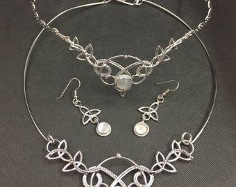 Renaissance Bespoke Wedding Celtic Accessories, Choker Necklace, Gemstone Earrings, Celtic Choker, Bridal Accessory Wedding Jewelry