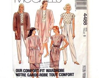 Vintage 80's McCall's Misses' Wardrobe Pattern #4488 - UNCUT - Cardigan, Top, Skirt and Pants - Size 8 (Bust 31 1/2) - Palmer & Pletsch