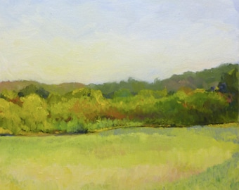 Meadow Light Original Plein Air Landscape Painting Original Oil on Canvas