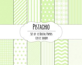Pistachio Green Digital Scrapbook Paper 12x12 Pack - Set of 12 - Polka Dots, Chevron, Gingham - Instant Download - Item# 8002