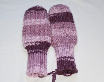 Fancy Knit MIttens - Purple Varigated Mittens - Winter Mittens - Womens Medium