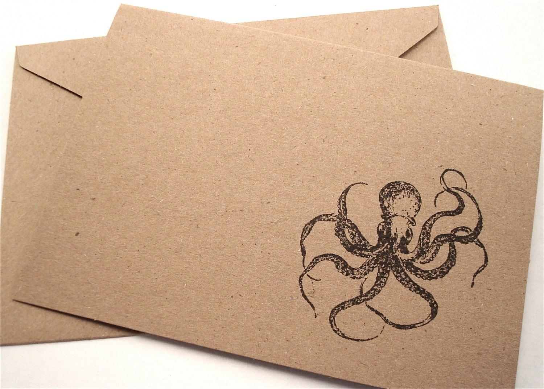 Octopus Note Cards Kraken Nautical Stationery Blank