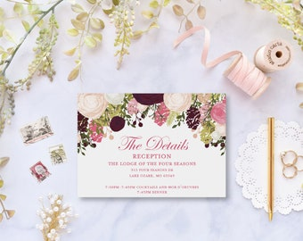 Details Card Template Directions Card Info Card Enclosure Card Accommodations Card Details INSTANT Download PDF Template #CL113
