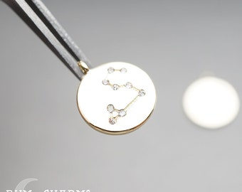 0681-01 - Pendant Connector, Glossy Gold Plated, Zodiac Constellations Leo Cubic Zirconia Setting Round Charm Pendant, 2 Pieces