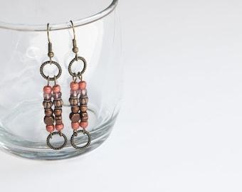 Tuscan style earth tone beaded handmade dangle earrings