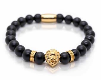 Onyx Gold Lion Bracelet