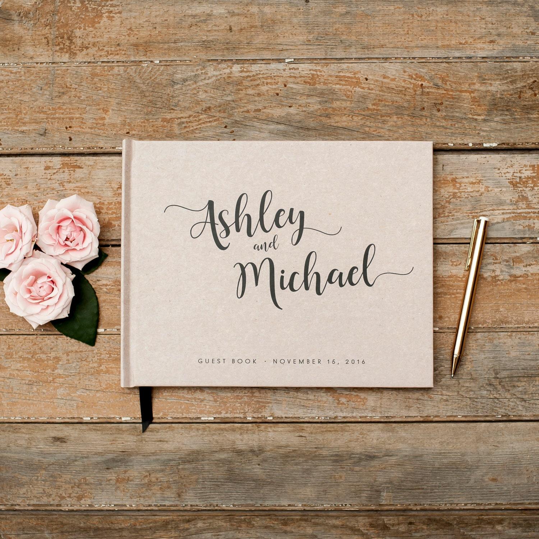 Photo Book Guest Book: Wedding Guest Book Horizontal Landscape Guestbook Sign In Book