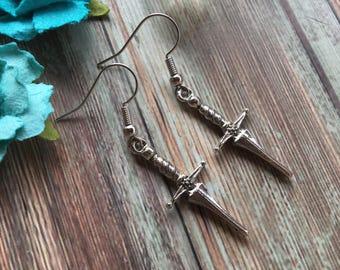 Dagger Earrings- Sword Earrings- Dungeons and Dragons Earrings- Fantasy Earrings- Rogue Earrings- Knife Earrings- Silver Earrings- YA Novel