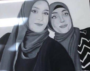 Custom Portrait Oil Painting (Black&White)