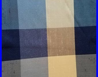 Large Plaid SILK Fabric Remnant 100% Silk Gold Dark Blue Shades