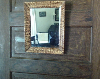 Vinegar painted wooden mirror in walnut brown
