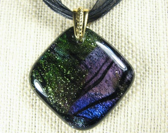 Dichroic Fused Glass Pendant - Deep Diamond