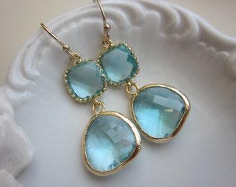 Aquamarine Earrings Gold Two Tier Blue Earrings - Bridesmaid Earrings Wedding Earrings Valentines Day Gift