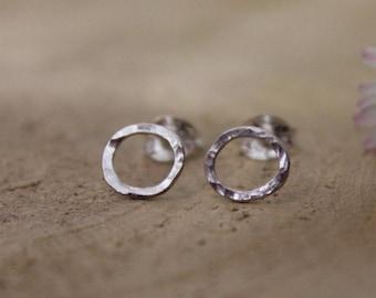Round Silver Stud Earrings