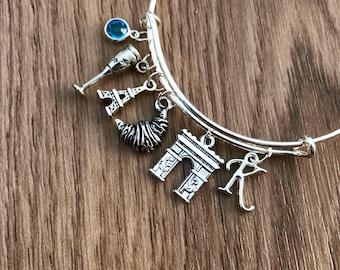 Personalised Paris Charm Bracelet, Parisian Travel Charm Bracelet with Eiffel Tower charm, Birthstone Charm, France