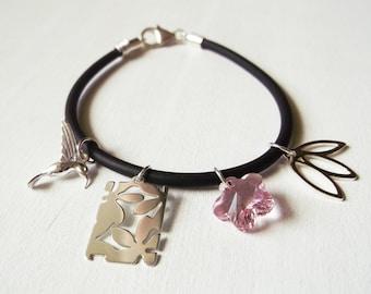 Black rubber bracelet with pendants in silver 925 and Swarovski crystal pink flower