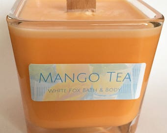 Mango Tea Richly Scented Natural Soy 12 Oz Wood Wick Jar Candle
