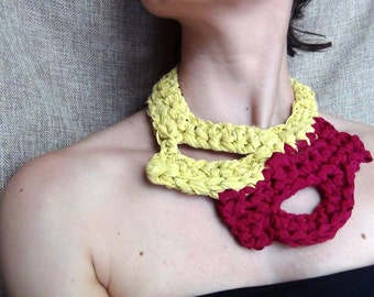 Silk yarn necklace, crochet necklace, free form crochet, statement jewelry, yellow red necklace