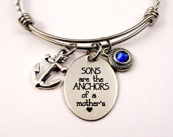 Mom Of Boys, Sons Are Anchors of a Mother's Heart,  Mother of Sons Bracelet, Sons Mom Mother Bracelet, Son Bracelet, Gift from Son