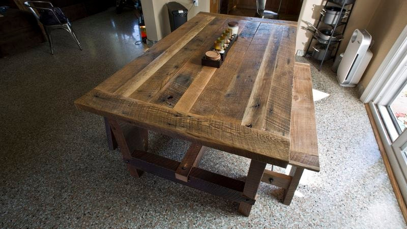 Solid Oak Reclaimed Barn Wood Dining Room Table