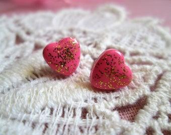 """My darlings"" - ""handmade"", polymer varnish and glitter, heart, stainless steel, lolita, babydoll chip Stud Earrings"