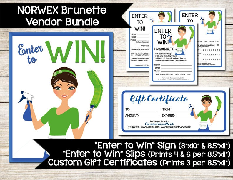 NORWEX Sign Enter to Win Gift Certificate Coupon