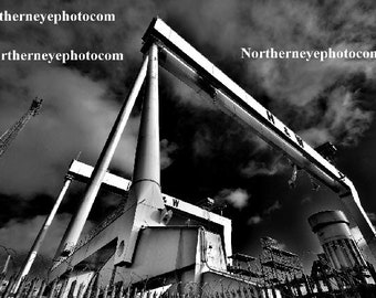 Belfast Landscape - Harland & Wolf Cranes at Titanic Quarter Belfast - Photography Print