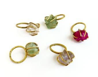 Raw Crystal Ring, Chunky Statement Boho Ring Adjustable, Fluorite Quartz Stone Ring