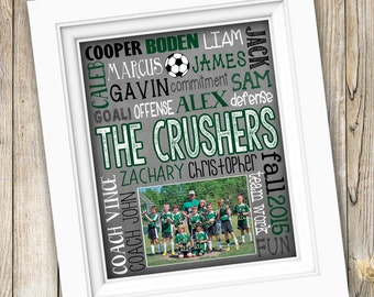 Soccer Coach Gift ~ End of Season Soccer Team Gift ~ Personalized Team Photo ~ Soccer Coaches Thank You Poster ~ PRINTABLE DIGITAL