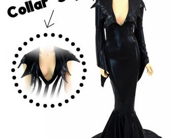 Black Mystique Mistress of all Evil Villain Gown with Demonica Collar Neckline, Pixie Sleeves and Puddle Train - 154791