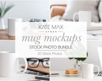 Modern Neutral Mug Mockups Stock Photo Bundle / 20 Styled Stock Photos / 10 KateMaxStock Lifestyle Branding Images for Your Business