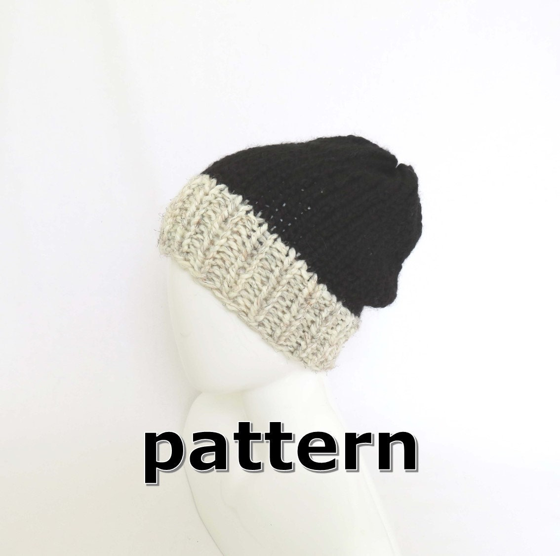 Hand Knit Chunky Hat PATTERN - DIY Two Tone Slouchy Beanie, Mens ...