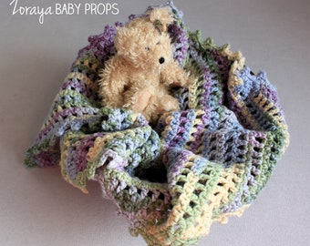 Baby Blue and Purple Layering Blanket, Triangle Toddler Blanket, Crocheted Blanket, Posing, Throw Blanket, Newborn , Sitters, Easter, Spring