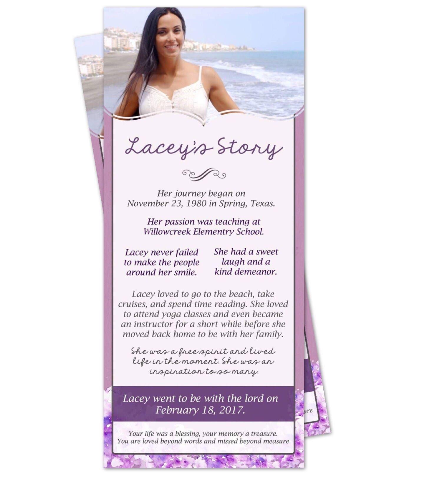 Purple Lavender Floral Funeral Memorial Service Program
