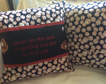 Baseball quilted pillow cover